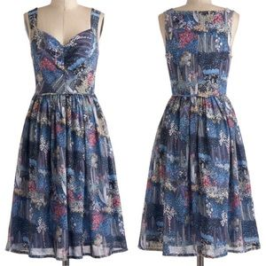 ModCloth The Perfect Periwinkle Floral Dress 6